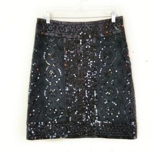 Tory Burch // Gorgeous Black Sequin Pencil Skirt